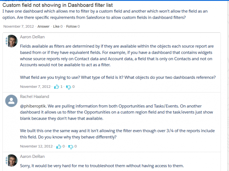 Here are some conversations from the Salesforce.com support site: