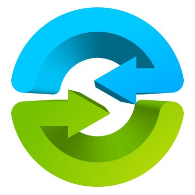 Blue and green circular arrow symbol / icon