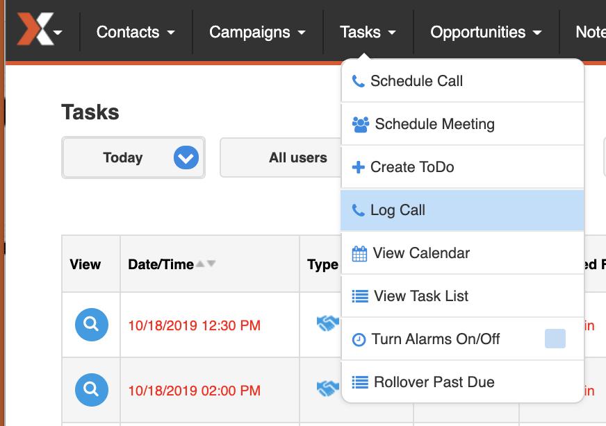 Image of how to navigate to tasks in menu of sales nexus platform.