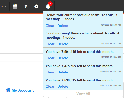 Notifications in CRM and Marketing Automation platform