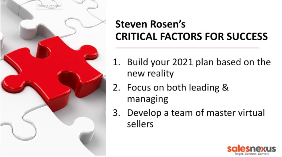 3rd Critical Factor for Success: Develop a team of master virtual sellers