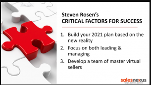 1st Critical Factor for Success: Build your 2021 plan based on the new reality