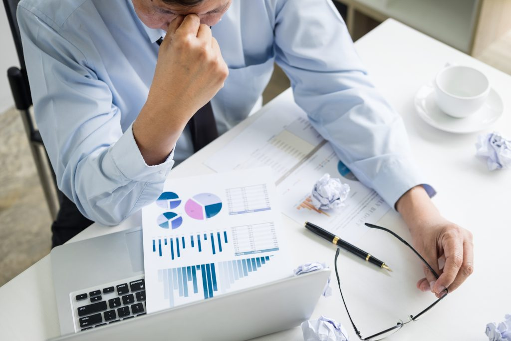 CRM Depressed failure and tired businessman late sad and solving pro section image