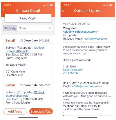 Email links content in contact's notes can now be viewed within the app